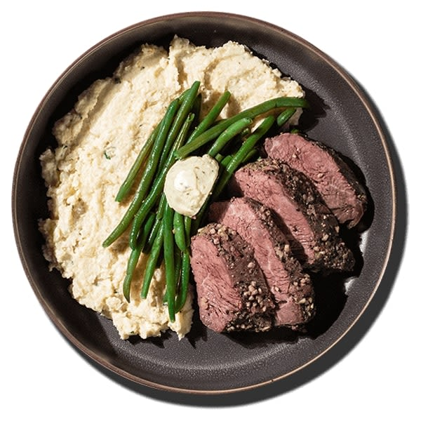 Steak with Garlic Cauliflower Mash